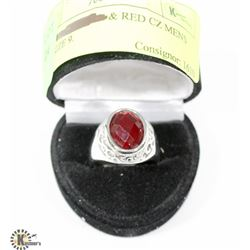 SILVER TONED & RED CZ MENS RING SIZE 9.