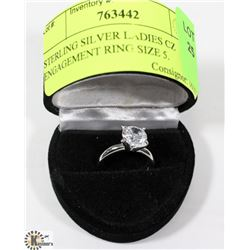 STERLING SILVER LADIES CZ ENGAGEMENT RING SIZE 5.