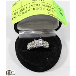 STERLING SILVER LADIES CZ ENGAGEMENT RING SIZE 8.