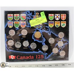 CANADIAN 125 LOONIE AND 12 PROVINCIAL QUARTERS.