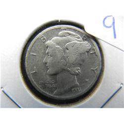 KEY 1931 D Mercury Dime. F.