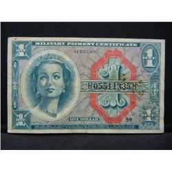 Series 611 $1 Military Payment Certificate. Queenie Woman.