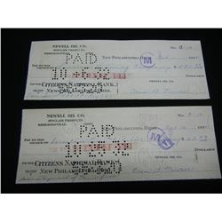 1932 Newell Oil Co cheques, Cashed