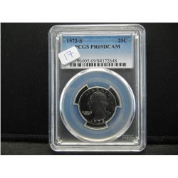 1973 S PCGS Quarter. PR69 DCAM