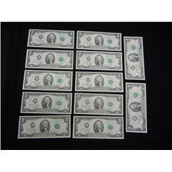 (11)Consecutive $2 Bills. I non-consecutive, (12) Total