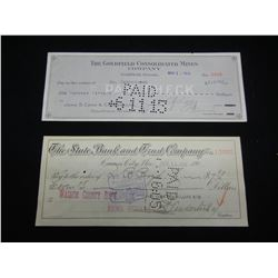 Carson City, Goldfield, Nevada checks from 1905 and 1913