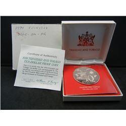 Large 1974 Proof Silver Trinidad 10 Dollar.