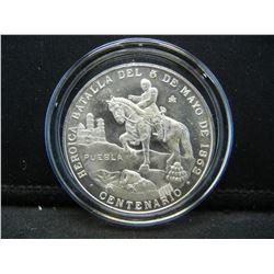 Puebla Silver Medal. Half Dollar size