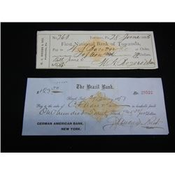2 1870s/80s Cheques