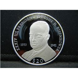 2007 Liberia 999 silver Eisenhower Proof $20 coin.