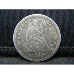 1855 arrows Seated Quarter. AU light circulation