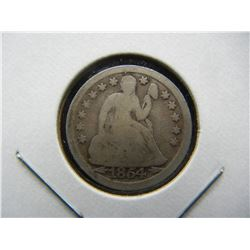 1854 arrows Seated Dime.