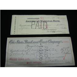 1897, 1906 American Cheques. Montana, CARSON CITY NEVADA!