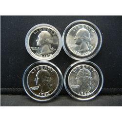 4- 90% & 40% Silver Proof Quarters. UNC and PR Bicentennials 62, 64 (2) 76