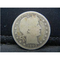 1893-O Barber Quarter. Better year coin