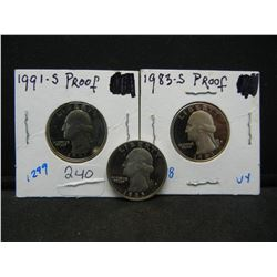 Proof Washington Quarter collection, 1991,1985,1983