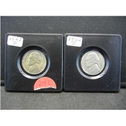 1942-P,1944-P BU Wartime Silver Nickels