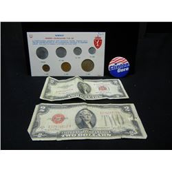 Norway mint set, Clinton button, 2-$2 bills