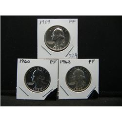 1959, 60,62 PROOF Silver Quarters