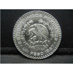 1957 Silver Mexico Peso. BU