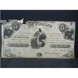 1850s 5 Florint. New York Hungarian bank