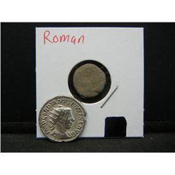 Genuine Roman Silver Antoninaius and bronze coin. AD 238-44