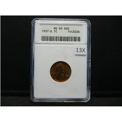 1937-D Lincoln 1c.  ANACS MS 65 RED.