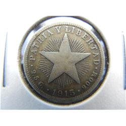 1915 Cuba Silver 10 Centavos.