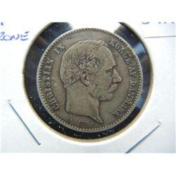 1876 Denmark 1 Krone.  VF+.