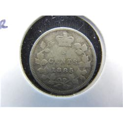 1885 Canada 5c Silver.  Better Date.