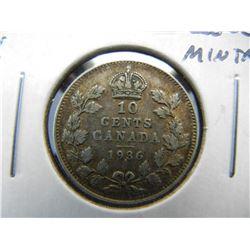 1936 Canada 10c.  XF.  Low Mintage.