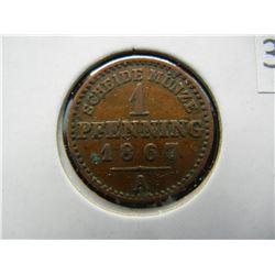 1867-A Germany 1 Pfennig.