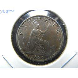1869 Great Britain Farthing.  AU/UNC.