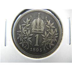 1895 Austria 1 Corona.  Scarce.  Silver.