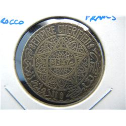 (1928) Morocco Silver 10 Francs.  Scarce.