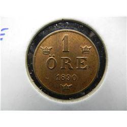 1890 Sweden 1 Ore.  UNC.