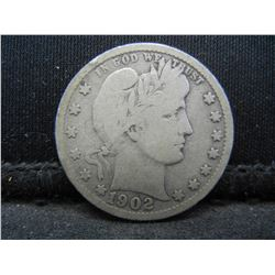 1902-S Barber Quarter, Original VG++.