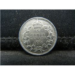 1920 Canada Sterling (92.5%) Silver Five Cents, Weighs 0.04 Troy Ounce.