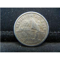 1952 Cuba Ten Centavos 90% Silver Coin, Weighs 0.08 Troy Ounce.