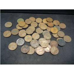 Roll of 50 Teen Dated Lincoln Wheat Cents.
