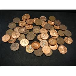Roll of 50 Canadian Copper Cents Dated Before 1997.
