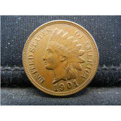 1901 Indian Cent, Full Bold Liberty, 4 Diamonds, AU+.