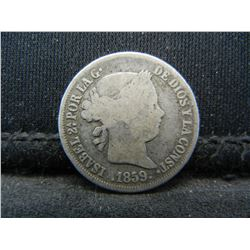 1859 Spain 2 Reales 90% Silver Coin.  Coin Weighs 0.08 Troy Ounce.