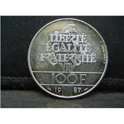 1987 France 100 Francs 90% Silver Coin.  Coin Weighs 0.49 Troy Ounce.