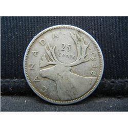 1938 Canada 25 Cents 80% Silver Quarter, Weighs 0.18 Troy Ounce.
