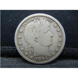 1893 Barber Quarter, VG++.