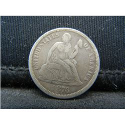 """1876 Seated Liberty Dime With Full Bold """"Liberty""""."""