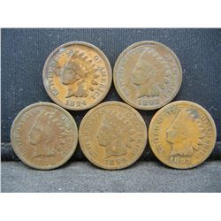 1892 1893 1894 1895 1896 Indian Head Cents.