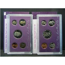 1990 & 1992 United States Mint 5 Coin Proof Sets With Original Gov't Packaging & COA's.