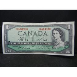 1954 Uncirculated $1 Bank of Canada (Ottawa) Demand Note.  Serial # KY0894330